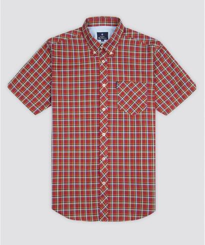 Ben-Sherman-Camisa-Cuadros-Manga-Corta-Roja-2