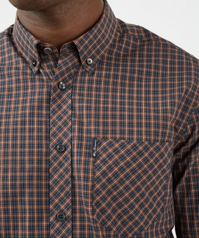 ben-sherman-long-sleeve-mini-check-shirt-coffee-2
