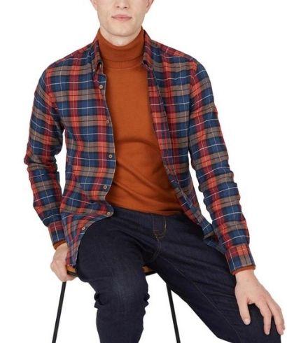 ben-sherman-striped-check-casual-shirt-camel-4